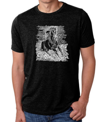 Los Angeles Pop Art Men's Big & Tall Premium Blend Word Art T-Shirt - Popular Horse Breeds