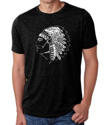 Los Angeles Pop Art Men's Big & Tall Premium Blend Word Art T-Shirt - Popular Native American Indian Tribes