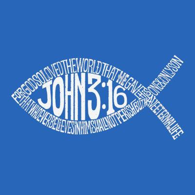 Los Angeles Pop Art Men's Big & Tall Premium Blend Word Art T-Shirt - John 3:16 Fish Symbol