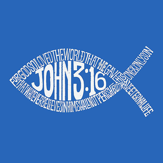 Los Angeles Pop Art Mens Big Tall Premium Blend Word Art T Shirt John 316 Fish Symbol