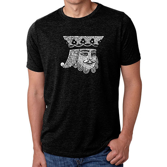 Los Angeles Pop Art Men's Big & Tall Premium Blend Word Art T-Shirt - King of Spades