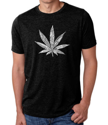 Los Angeles Pop Art Men's Big & Tall Premium Blend Word Art T-shirt - 50 DIFFERENT STREET TERMS FOR MARIJUANA