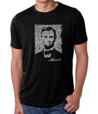 Los Angeles Pop Art Men's Big & Tall Premium Blend Word Art T-shirt - ABRAHAM LINCOLN - GETTYSBURG ADDRESS