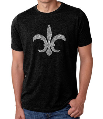 Los Angeles Pop Art Men's Big & Tall Premium Blend Word Art T-shirt - FLEUR DE LIS - POPULAR LOUISIANA CITIES
