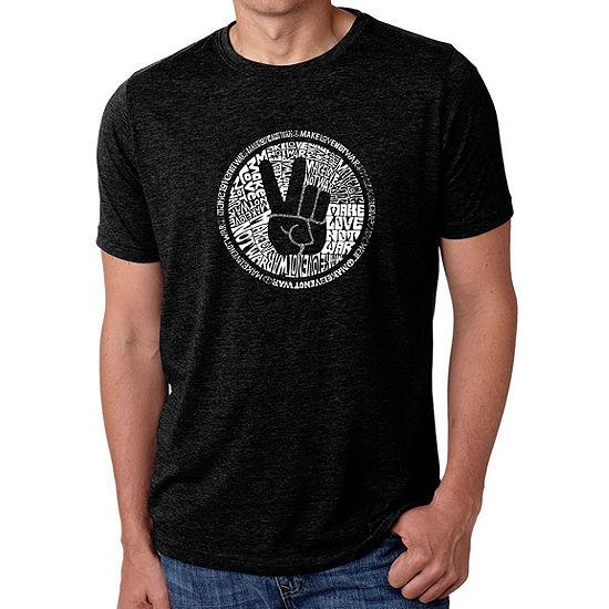 Los Angeles Pop Art Men's Big & Tall Premium Blend Word Art T-shirt - MAKE LOVE NOT WAR