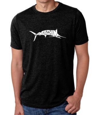 Los Angeles Pop Art Men's Big & Tall Premium Blend Word Art T-shirt - Marlin - Gone Fishing