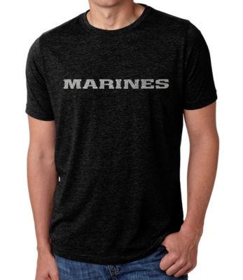 Los Angeles Pop Art Men's Big & Tall Premium Blend Word Art T-shirt - LYRICS TO THE MARINES HYMN