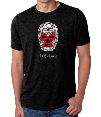 Los Angeles Pop Art Men's Big & Tall Premium BlendWord Art T-shirt - MEXICAN WRESTLING MASK