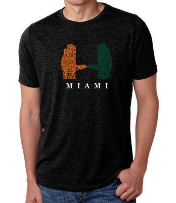 Los Angeles Pop Art Men's Big & Tall Premium Blend Word Art T-shirt - Miami Hurricanes Hand Symbol