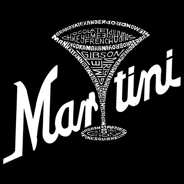 Los Angeles Pop Art Men's Big & Tall Premium Blend Word Art T-shirt - Martini