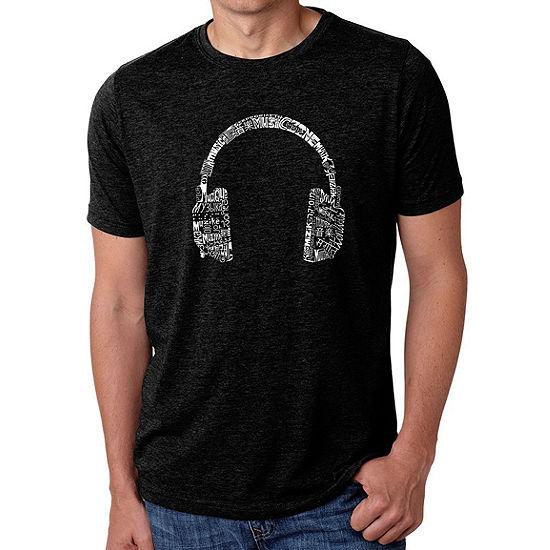 Los Angeles Pop Art Men's Big & Tall Premium Blend Word Art T-shirt - HEADPHONES - LANGUAGES
