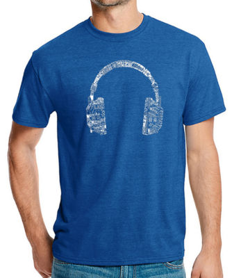 Los Angeles Pop Art Men's Big & Tall Premium Blend Word Art T-shirt - HEADPHONES - LANGUAGES