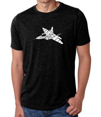 Los Angeles Pop Art Men's Big & Tall Premium Blend Word Art T-shirt - FIGHTER JET - NEED FOR SPEED