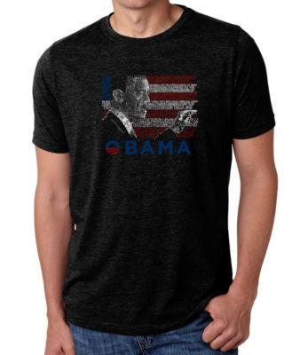 Los Angeles Pop Art Men's Big & Tall Premium BlendWord Art T-shirt - BARACK OBAMA - ALL LYRICS TO AMERICA THE BEAUTIFUL