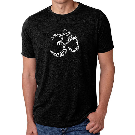 Los Angeles Pop Art Men's Big & Tall Premium Blend Word Art T-shirt - THE OM SYMBOL OUT OF YOGA POSES