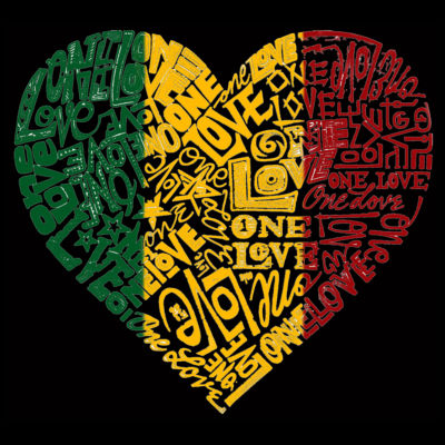 Los Angeles Pop Art Men's Big & Tall Premium Blend Word Art T-shirt - One Love Heart