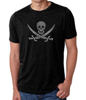 Los Angeles Pop Art Men's Big & Tall Premium Blend Word Art T-shirt - LYRICS TO A LEGENDARY PIRATE SONG