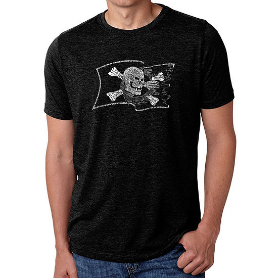 Los Angeles Pop Art Men's Big & Tall Premium Blend Word Art T-shirt - FAMOUS PIRATE CAPTAINS AND SHIPS