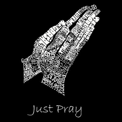 Los Angeles Pop Art Men's Big & Tall Premium Blend Word Art T-shirt - Prayer Hands
