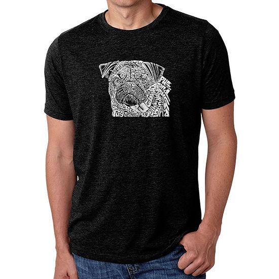 Los Angeles Pop Art Men's Big & Tall Premium Blend Word Art T-shirt - Pug Face
