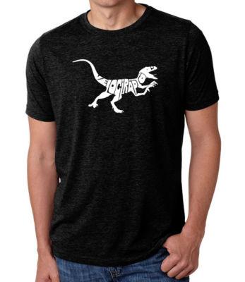 Los Angeles Pop Art Men's Big & Tall Premium Blend Word Art T-shirt - Velociraptor