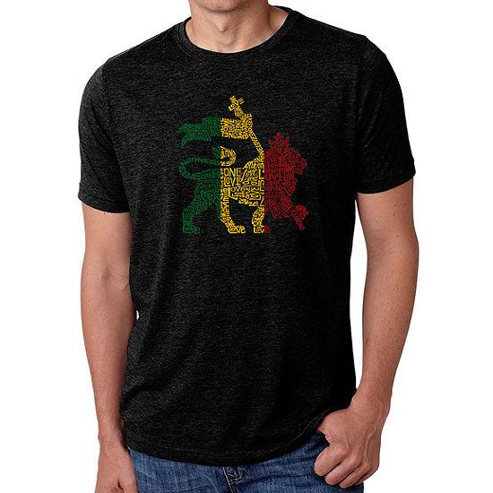 Los Angeles Pop Art Mens Big Tall Premium Blend Word Art T Shirt Rasta Lion One Love