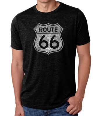 Los Angeles Pop Art Men's Big & Tall Premium Blend Word Art T-shirt - CITIES ALONG THE LEGENDARY ROUTE 66