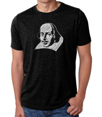 Los Angeles Pop Art Men's Big & Tall Premium Blend Word Art T-shirt - THE TITLES OF ALL OF WILLIAM SHAKESPEARE'S COMEDIES & TRAGEDIES