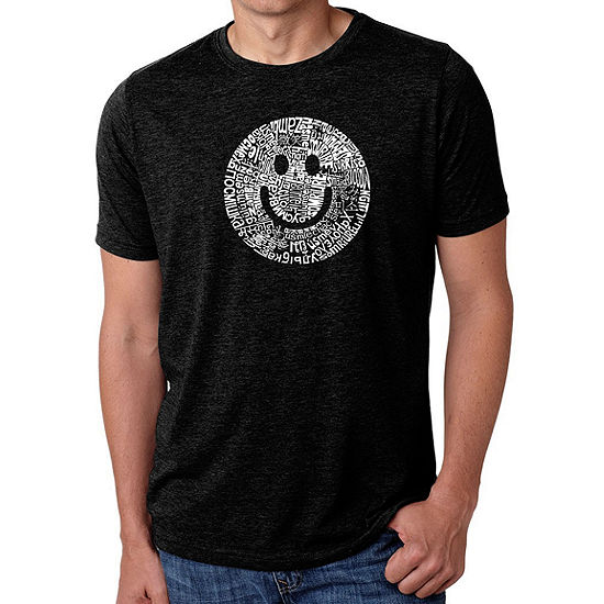 Los Angeles Pop Art Men's Big & Tall Premium Blend Word Art T-shirt - SMILE IN DIFFERENT LANGUAGES