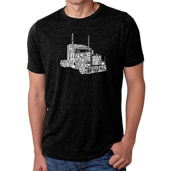 Los Angeles Pop Art Men's Big & Tall Premium Blend Word Art T-shirt - KEEP ON TRUCKIN'