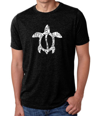 Los Angeles Pop Art Men's Big & Tall Premium Blend Word Art T-shirt - Honu Turtle - Hawaiian Islands