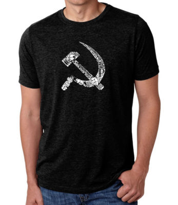 Los Angeles Pop Art Men's Big & Tall Premium Blend Word Art T-shirt - Soviet Hammer And Sickle
