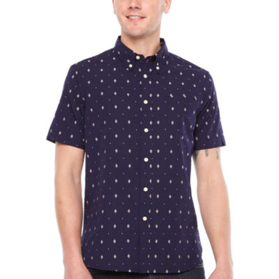 Jmco Mens Short Sleeve Pattern Button-Front Shirt