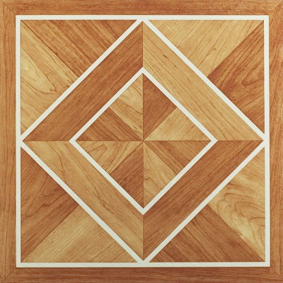 Tivoli White Border Classic Inlaid Parquet 12X12 Self Adhesive Vinyl Floor Tile - 45 Tiles/45 Sq. Ft.