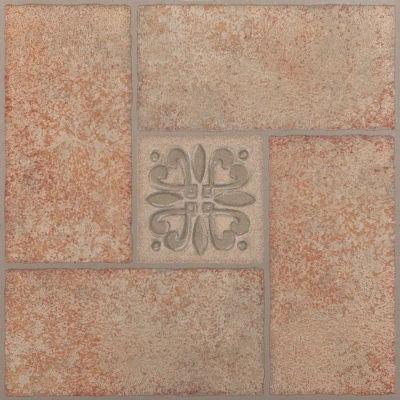 Tivoli Beige Terracotta Motif Center 12X12 Self Adhesive Vinyl Floor Tile - 45 Tiles/45 Sq. Ft.