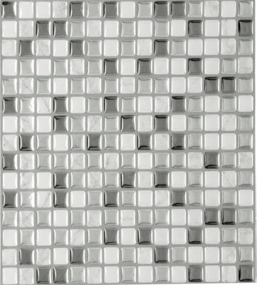 Magic Gel Silver Glass 9.125X9.125 Self Adhesive Vinyl Wall Tile - 3 Tiles/2.25 Sq Ft.