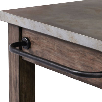 Distressed Metal Wrapped Industrial Kitchen Island