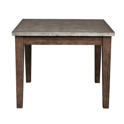 Vintage Industrial Style Metal Wrapped Square Dining Table