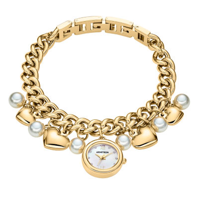 Armitron Charm Womens Gold Tone Bracelet Watch-75/5578mpgp