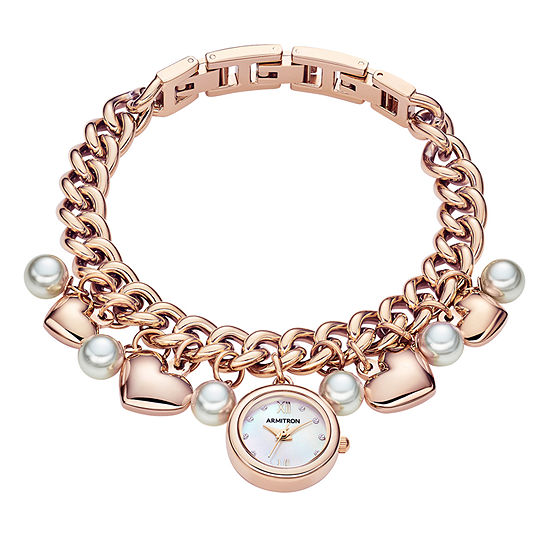 Armitron Charm Womens Rose Goldtone Bracelet Watch 75 5578mprg