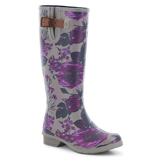 Chooka Fashion Womens Hattie Rain Boots Waterproof Flat Heel