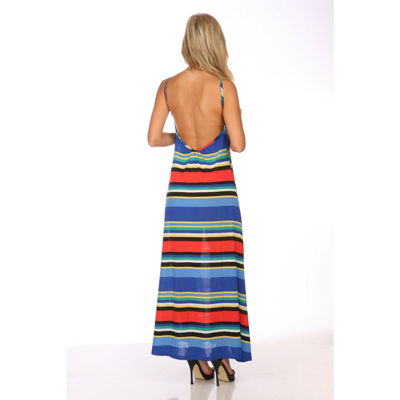 White Mark Open Back Colorful Maxi Dress