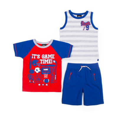 Boys Rock 3-pc.Game Time Shirt Short Set - Baby Boy