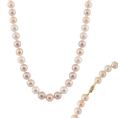 Splendid Pearls Womens 10MM Multi Color Cultured Freshwater Pearl 14K Gold Strand Necklace