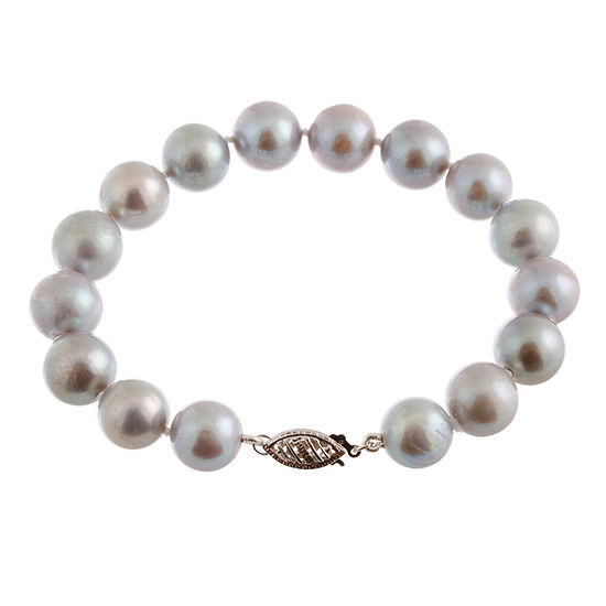 Gray Cultured Freshwater Pearl 14K Gold Beaded Bracelet