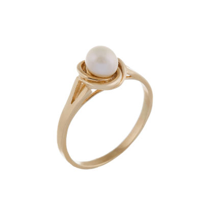 Splendid Pearls Womens 4MM Cultured Freshwater Pearl 14K Gold Cocktail Ring