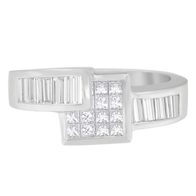 Womens 1 1/3 CT. T.W. White Diamond 14K White Gold Cocktail Ring