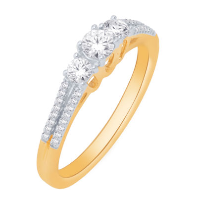 Love Lives Forever Womens 1/2 CT. T.W. Genuine White Diamond 14K Gold Engagement Ring