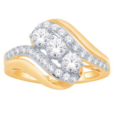 Love Lives Forever Womens 1 CT. T.W. Round White Diamond 14K Gold Engagement Ring