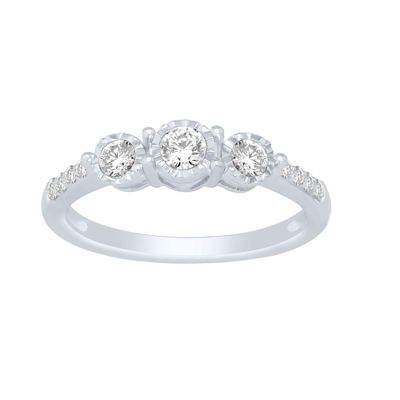 Love Lives Forever Womens 3/8 CT. T.W. Round White Diamond 10K Gold Engagement Ring